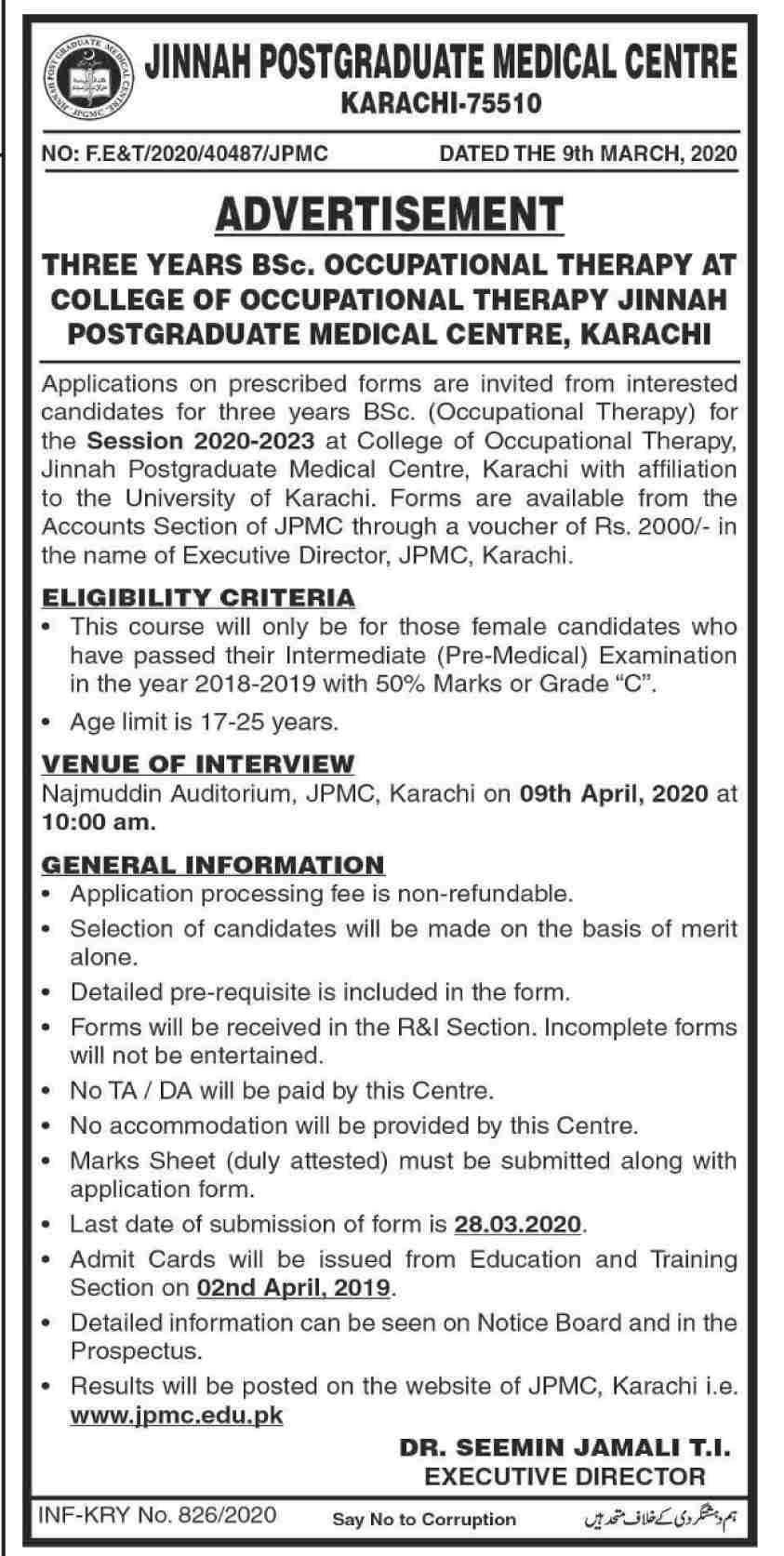 JPMC-BSc Occupational Therapy