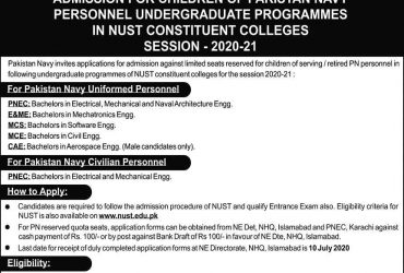 PAKISTAN NAVY Admission for Children of Pakistan Navy Personnel in Undergraduate Programmes in NUST Constituent Colleges Session 2020-21