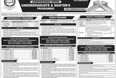 Quaid-i-Azam University, Islamabad Doctor of Pharmacy (Pharm-D)
