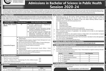 NUMS ADMISSION  OPEN- B.S in Public  Health