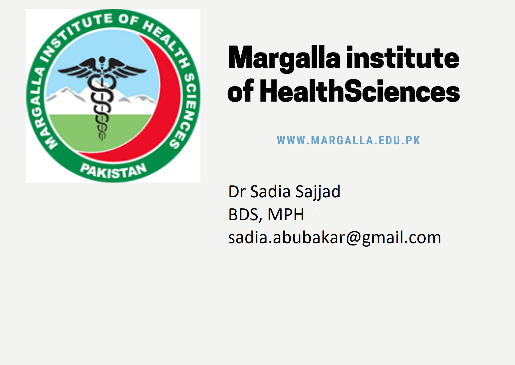 COMMUNITY & PREVENTIVE DENTISTRY DEPARTMENT at MIHS by Dr Sadia Sajjad Assistant Professor/HOD