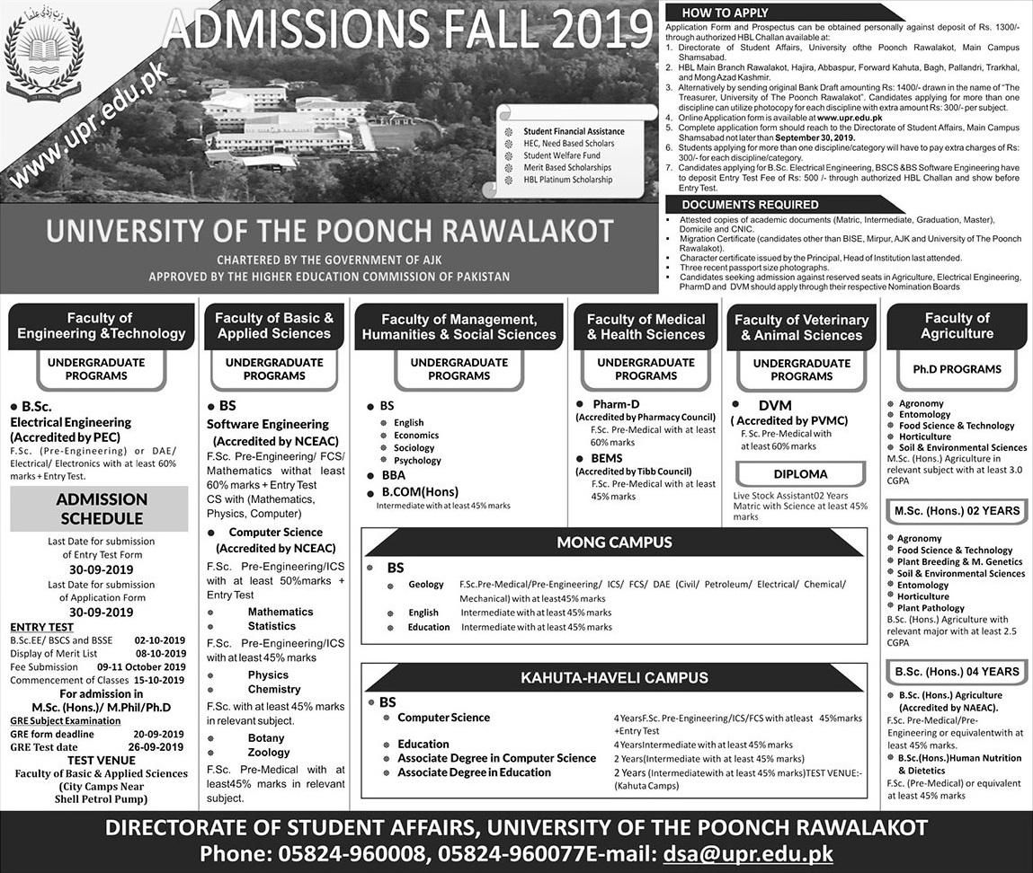 The University of Poonch, Rawalakot Diploma in Live Stock Assistant