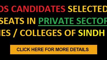 List of BDS candidates selected against vacant seats in Private Sector Dental Universities/Colleges of Sindh Province