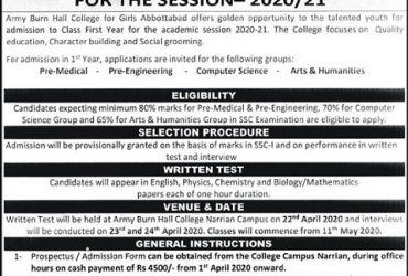 Army Burn Hall College For Girls Abbottabad announced admission 2020
