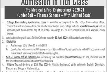 Cadet College Warsak- ADMISSIONS OPEN 2020