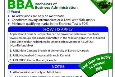 UOK-BBA 4 years program Admission 2020