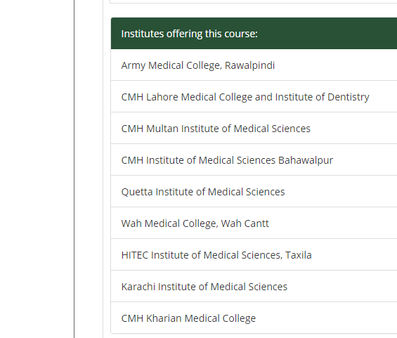 MBBS National university of medical Sciences