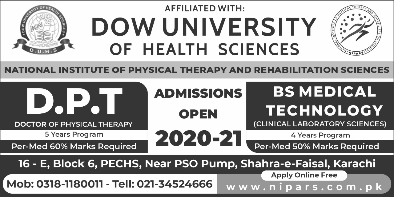 Admissions Open in National Institute of Physical Therapy and Rehabilitation Sciences NIPARS