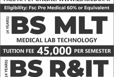 BS- Medical Lab Technology, BS- Radiology Imaging Technology