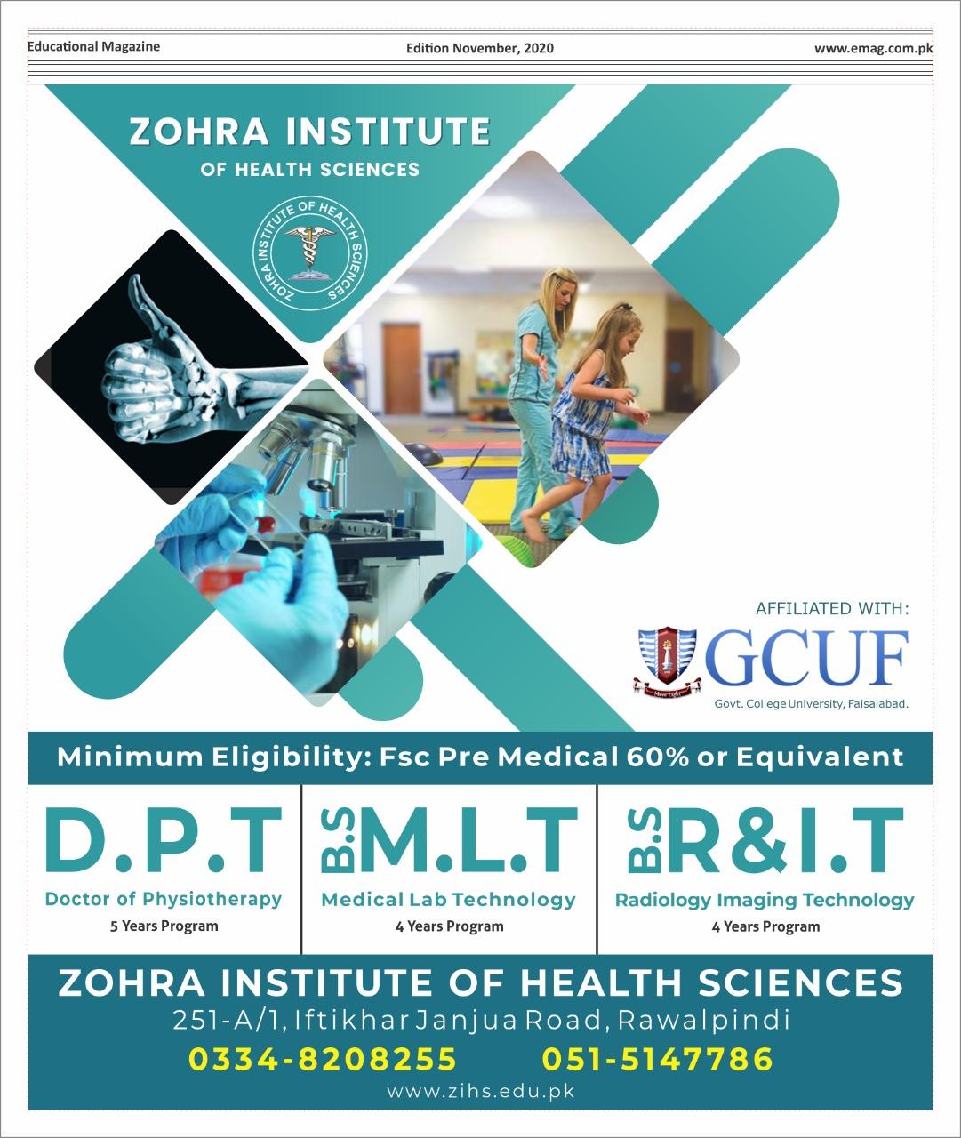 Zohra institute of health sciences rawalpindi (DPT),(MLT),(R&IT)